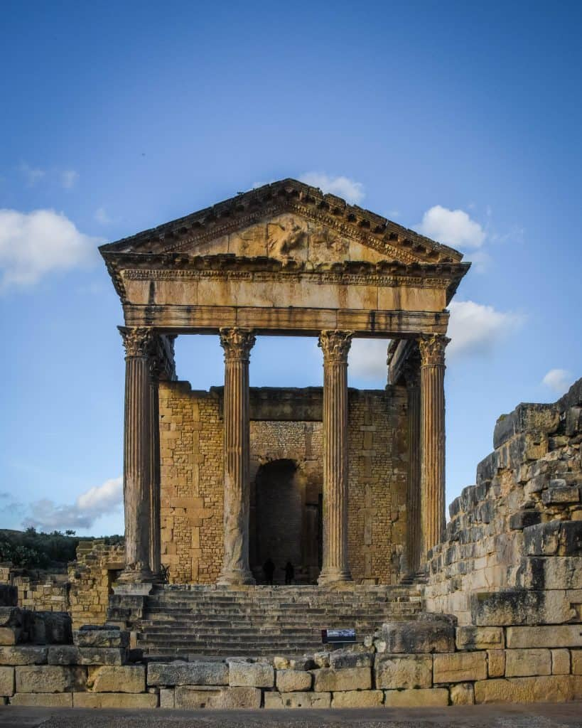 Dougga's Temple is Dedicated to Jupiter, Juno, and Minerva