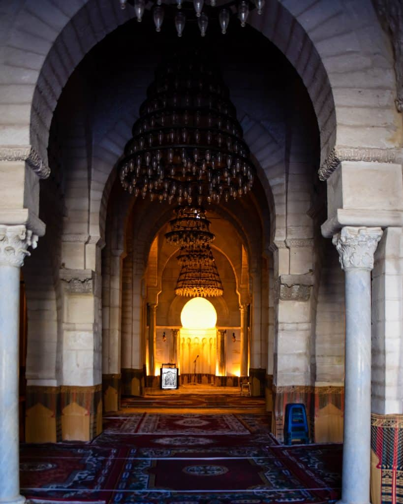 Inside the Great Mosque of Sousse
