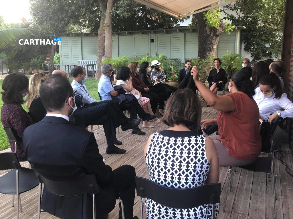 First 'Democracy Talks' session in Tunisia at the Swedish Ambassador's residence. Photo credit: Fatma BEN HADJ ALI, Swedish Embassy.