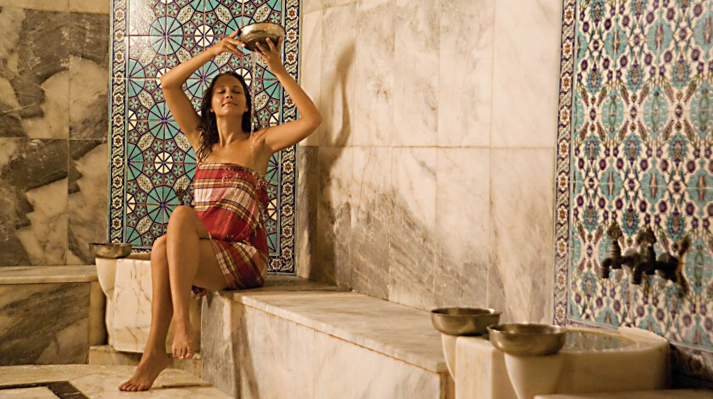 A woman relaxing at a Hammam place, Tunisia