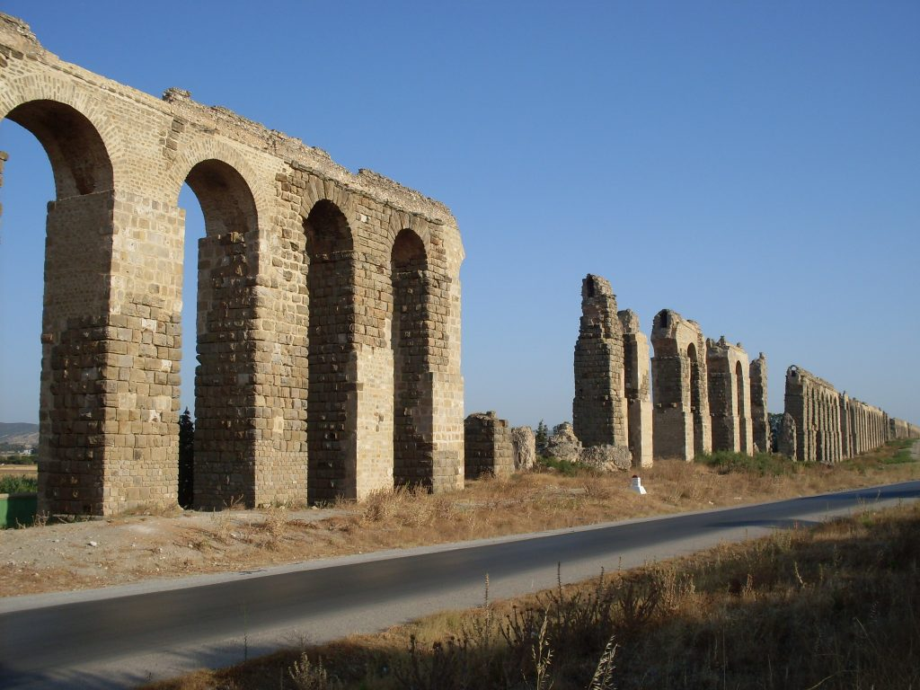 Restored section on the Zaghouan Aqueduct.