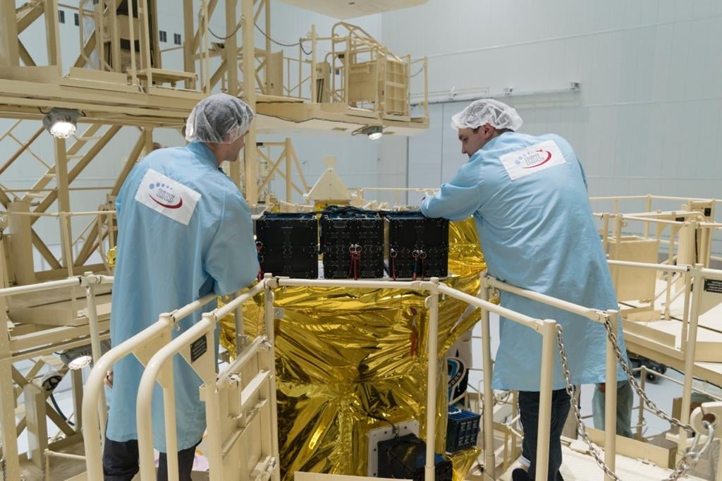 Tunisian Engineers working on the Challenge One Tunisian Satellite. Photo taken from Telnet Holding Facebook page.