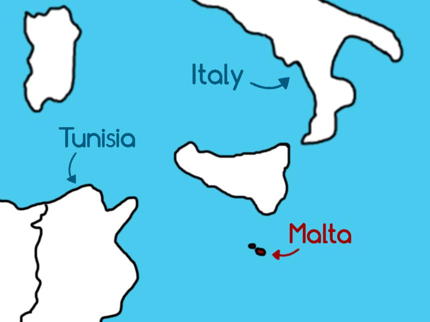 Tunisian Arabic. Malta in the Mediterranean Sea between Tunisia and Italy.