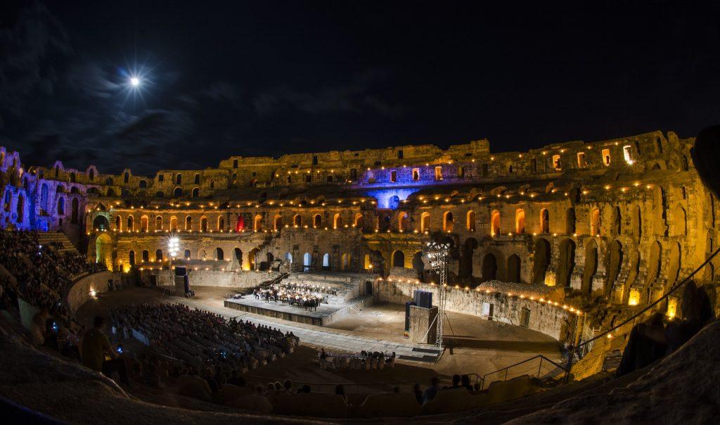 El Jem Amphitheatre by night.