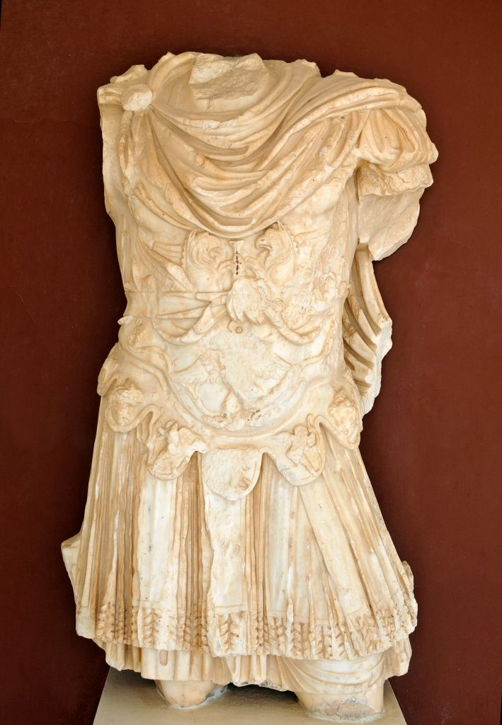 Imperial cuirass (piece of armor) carved in white marble at the El Jem Museum.