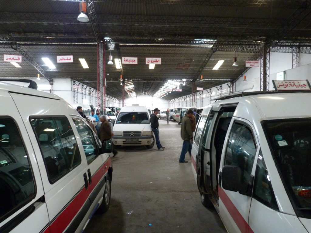 Moncef Bey Minibus Share Taxis (Louages) station in Tunis, Tunisia.