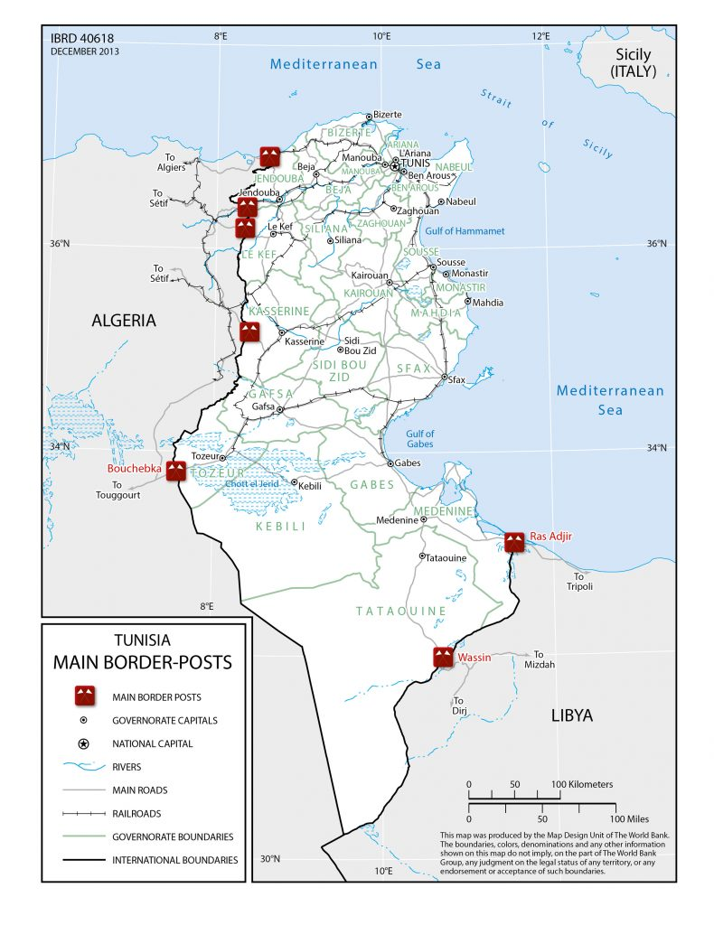 Tunisia main international crossings with Algeria and Libya. Source: World Bank, 2014.