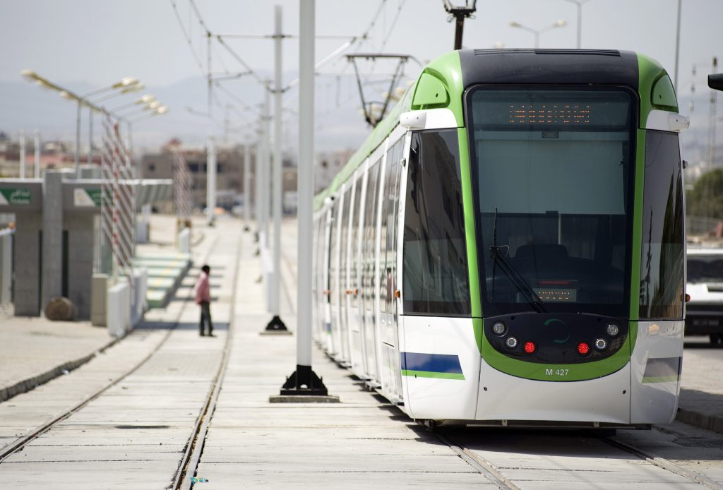 Light Rail Systems | Metro in Mourouj city, South side of Tunis, Tunisia.