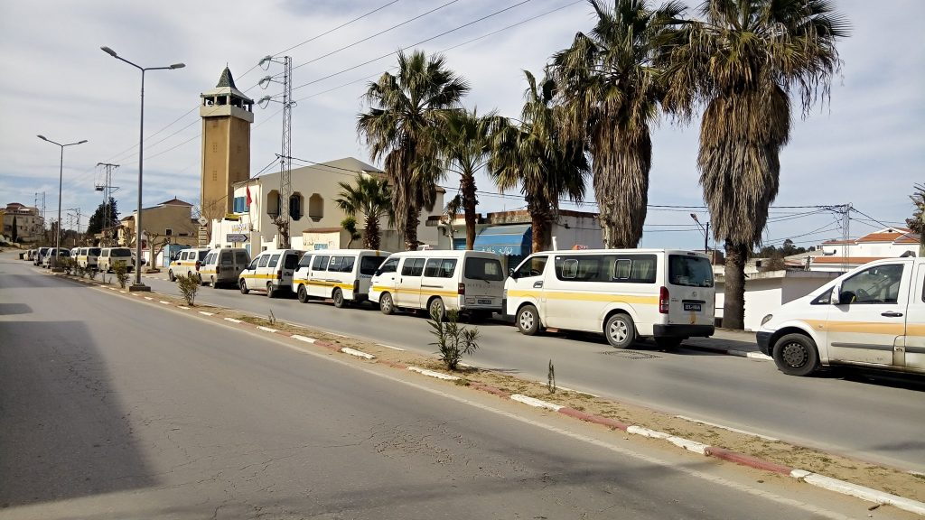 Rural Minibus Share Taxis station in Tabarka, Jendouba, Tunisia.