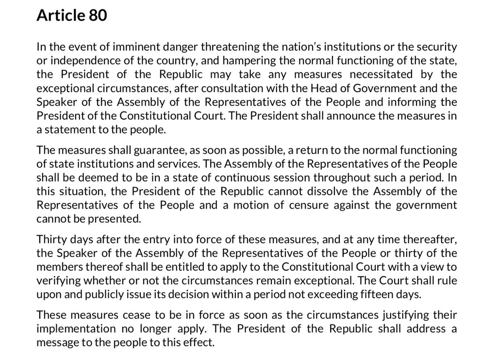 Article 80 in English of the Tunisian Constitution