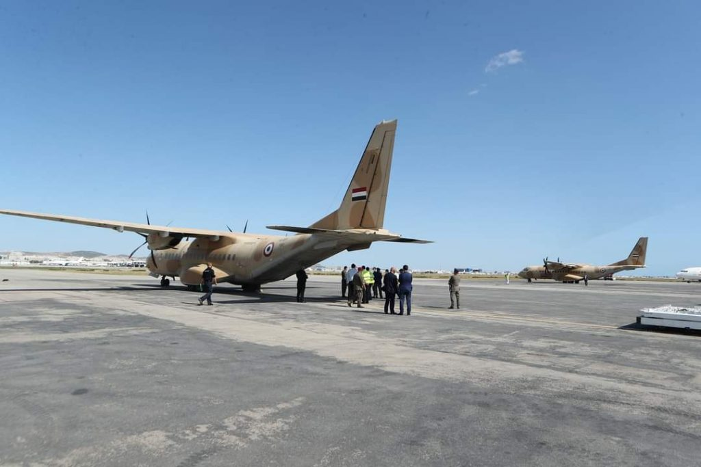 The second batch of Egyptian medical aid to Tunisia. 2 EAF aircraft landed in Tunis 4 days ago, and 3 more today carrying medical supplies and equipment.