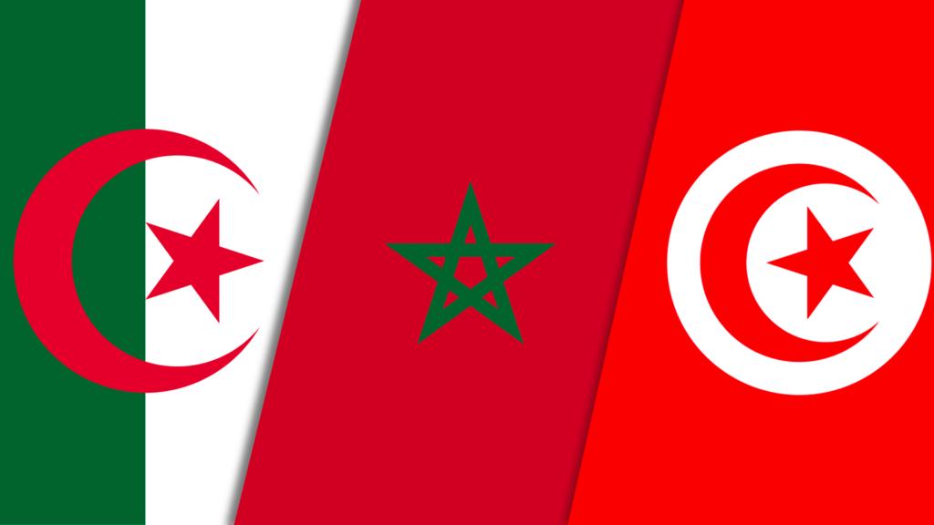 Flags of Algeria, Morocco and Tunisia. France VISA to Tunisians